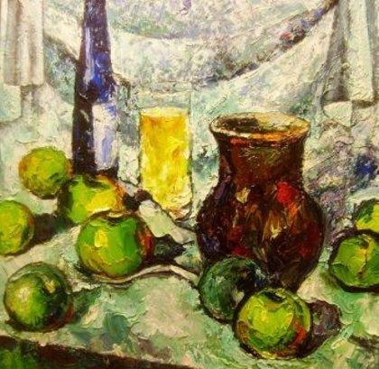 Зеленые яблоки, кувшин, вино